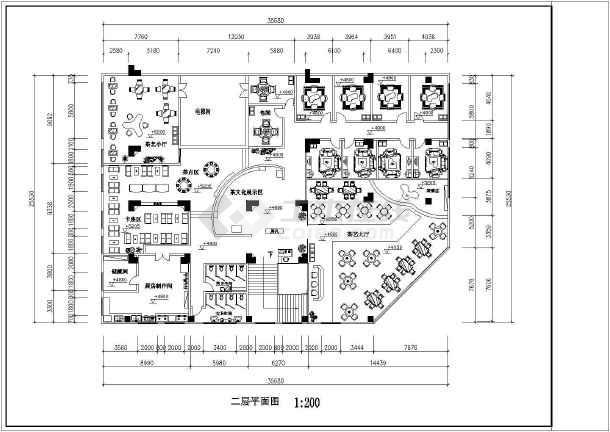 52米 二层茶艺馆建筑设计图(平面地面天花图)-图3