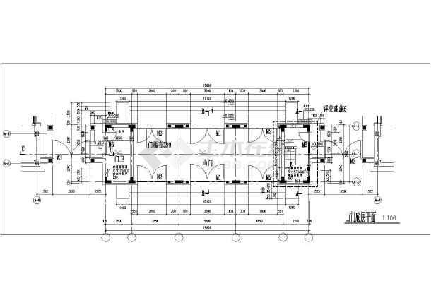 某地区仿古山门建筑设计方案施工图-图1