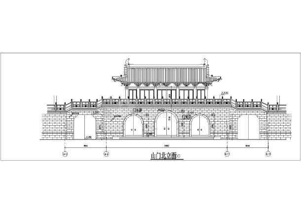 某地区仿古山门建筑设计方案施工图-图3