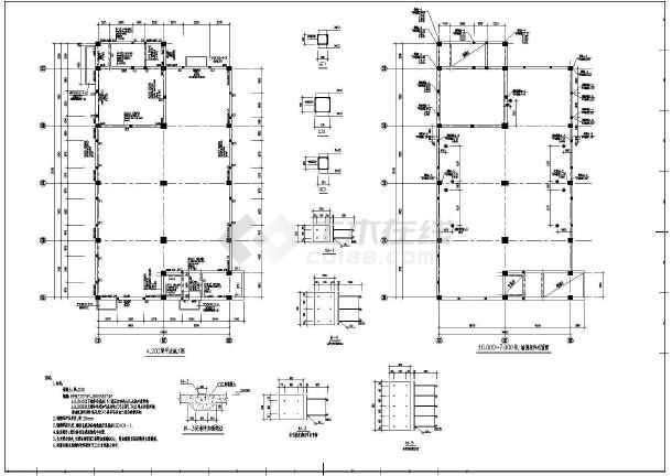 某地区大型电控楼框剪结构图(标注详细)-图3