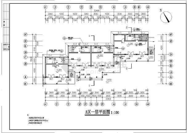 某地区仿古商业建筑设计方案CAD图-图3