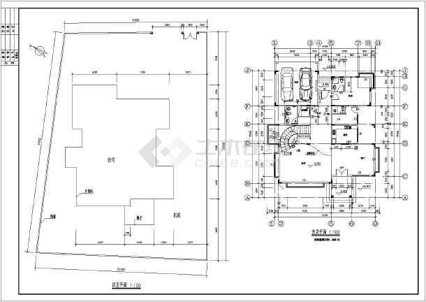 某地区两套仿古别墅建筑设计方案CAD图-图2