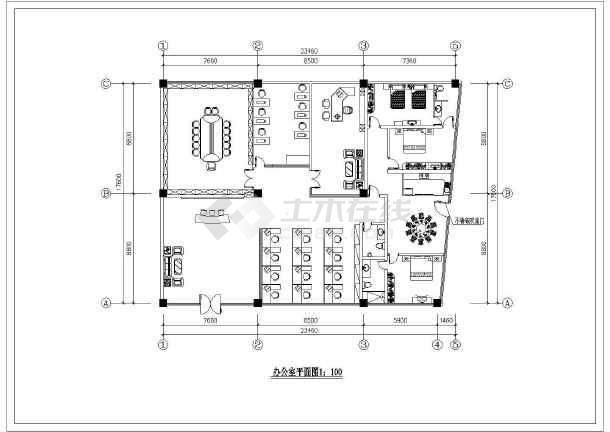 办公室精装修装饰设计方案及施工全套CAD图纸