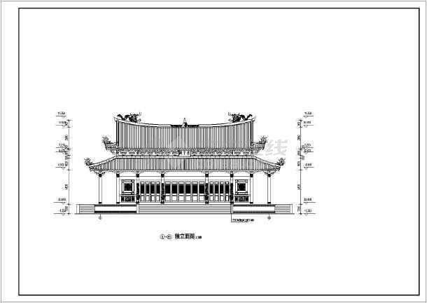 某地区道家仿古建筑大殿建筑设计方案CAD图-图1