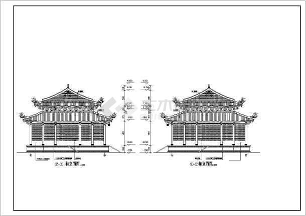 某地区道家仿古建筑大殿建筑设计方案CAD图-图2