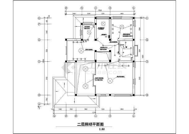 一套别致的联排别墅售楼处样板间装修电气设计图-图1