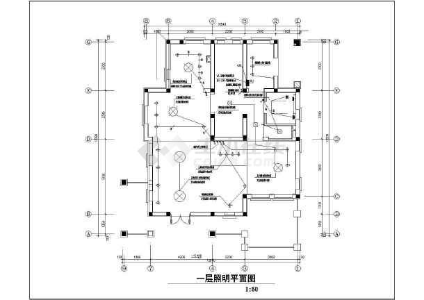 一套别致的联排别墅售楼处样板间装修电气设计图-图2