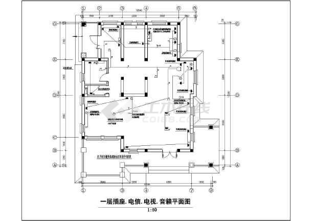 一套别致的联排别墅售楼处样板间装修电气设计图-图3