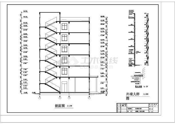 永州某综合办公楼框架结构设计cad详图及文字说明-图3