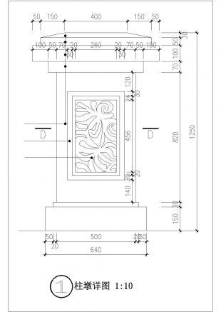 某挡土栏杆上图纸cad大样详设计施工围墙家具设计cad图图片
