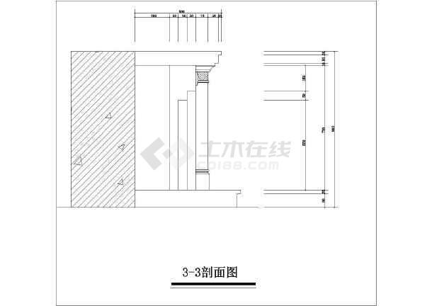 壁炉式暖气罩装修设计平立面图(共2张)