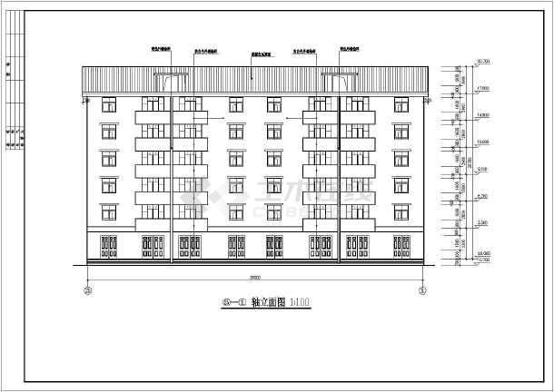 为某住宅小区六层居民楼建筑施工图纸(含说明),内容包括:一层平面图