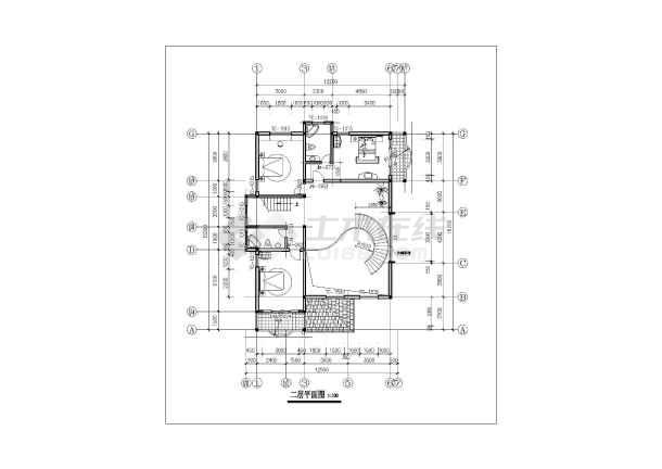 三层别墅扩出图带结构模型施工cad建筑图