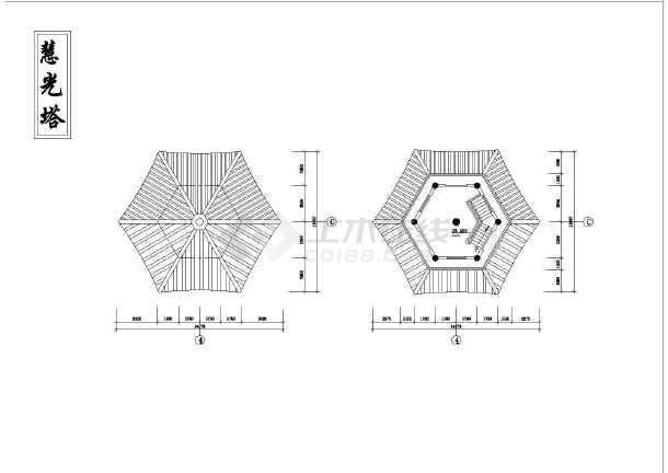 某地区小型砖混结构古塔建筑施工图纸(共6张)