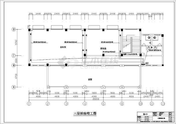 某地区地税局办公楼别墅占地设计CAD施工电气竣工200施工平图纸图纸图片