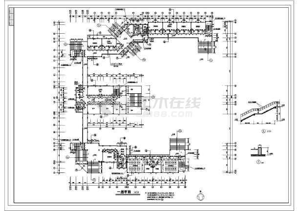 某全套教学楼综合楼建筑设计中学及v全套方案Ccad导入su精简图片