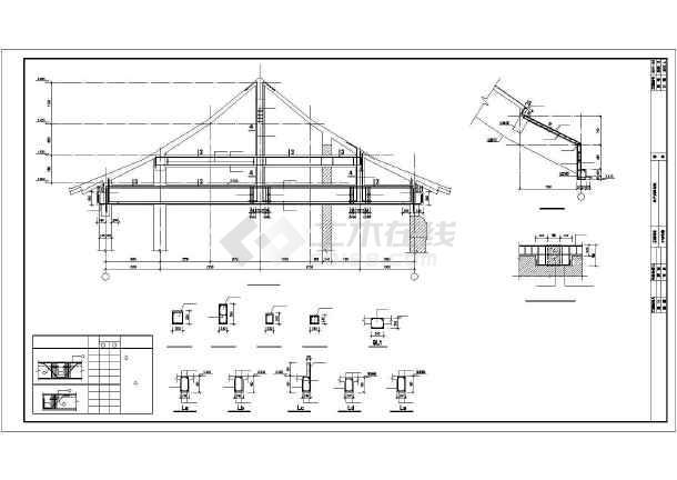 中式仿古四合院建筑设计全套图纸(含建筑,结构,水,电