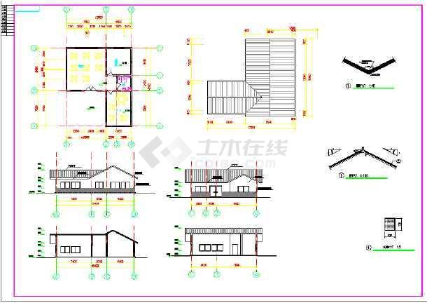 长15.4米 宽12.8米 一层小茶社建筑设计图