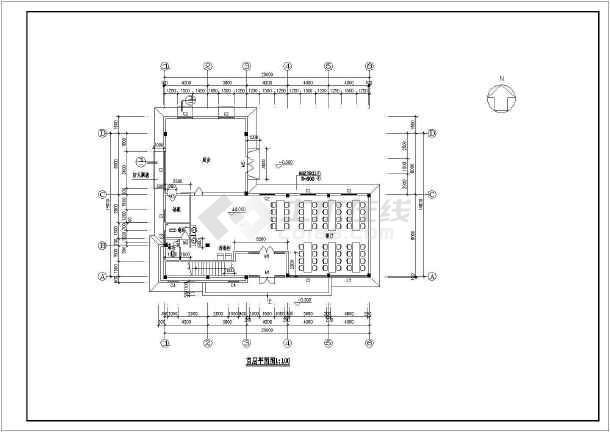 某宿舍餐厅施工设计方案CAD平面图