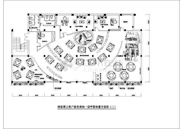 某办公室cad平面布置施工方案图