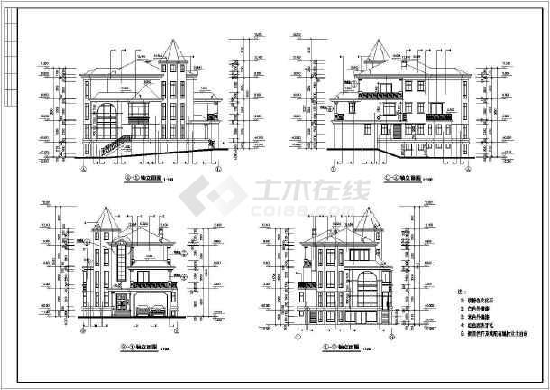 某地碧水天源别墅(总图)建筑图纸(标注详细,带效果)-图3
