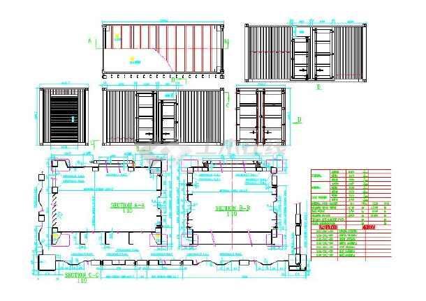 20英寸油嘴集装箱钢结构图纸(CAD版)_cad图图纸标准图片