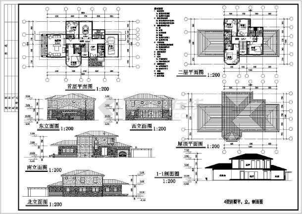 别墅设计方案图的详细CAD建筑图纸-图1