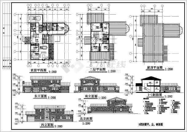 别墅设计方案图的详细CAD建筑图纸-图3