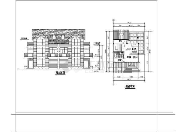 几套完整别墅户型的CAD设计方案图-图2