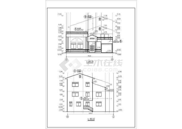 某地区多层别墅户型建筑施工图纸(总套)-图3