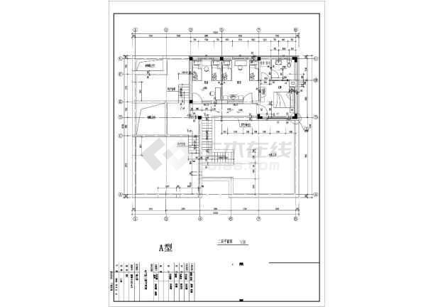 某地区别墅户型图设计施工CAD图纸-图3