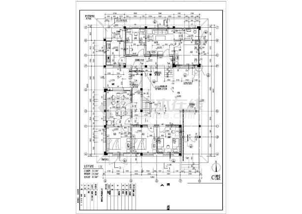 某地区别墅户型图经典设计施工CAD图纸-图2