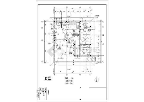 某地别墅户型图经典设计施工CAD图-图1
