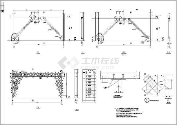 钢框架钢结构家具城设计施工cad方案图