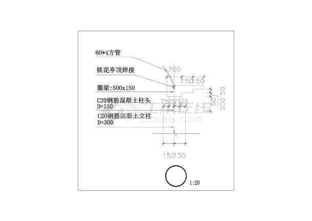 欧式电气凉亭建筑设计CAD施工图cad元件铁花符号延时器图片