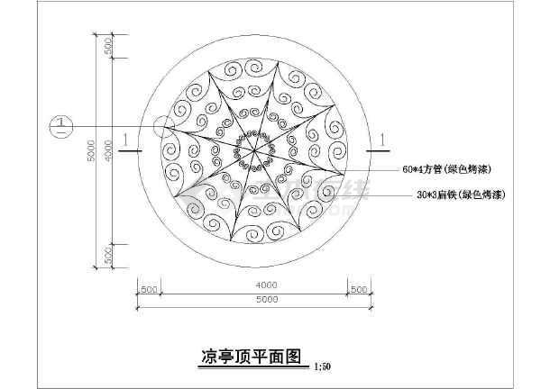 欧式铁花长度建筑设计CAD施工图cad线凉亭中总和图片