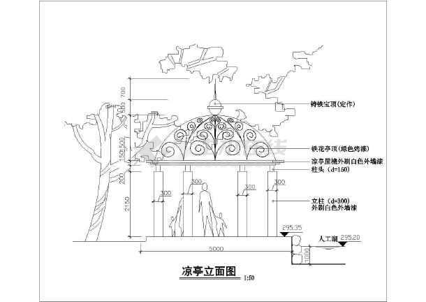欧式凉亭垃圾建筑设计CAD施工图为什么cad有压缩会铁花图片