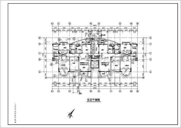 2米 宽11.18米 11层1楼梯1电梯住宅楼设计图图片