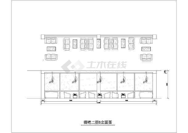 某酒吧装修cad施工设计方案图纸