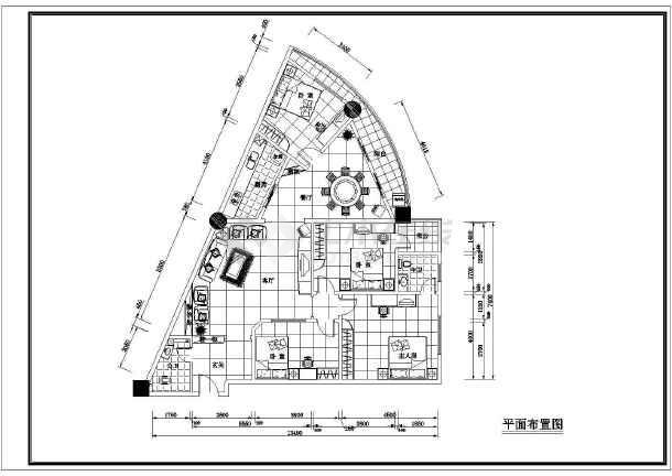某市三角房户型cad装修设计布置图纸