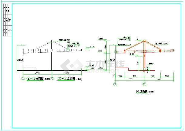 小型大跨度钢结构雨棚施工图纸(含设计说明)