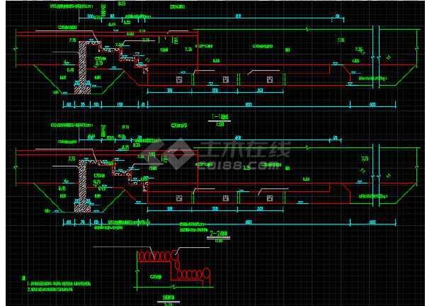 小流域堤防加固工程设计CAD施工图(含招标文件)-图1