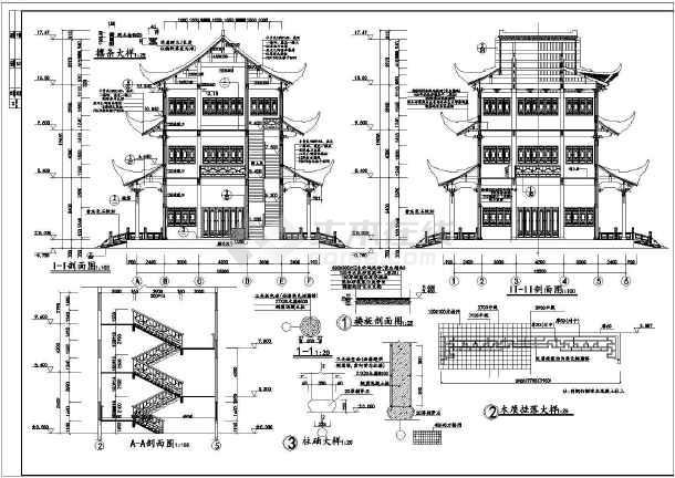 文昌阁塔古建筑设计cad施工图纸图片