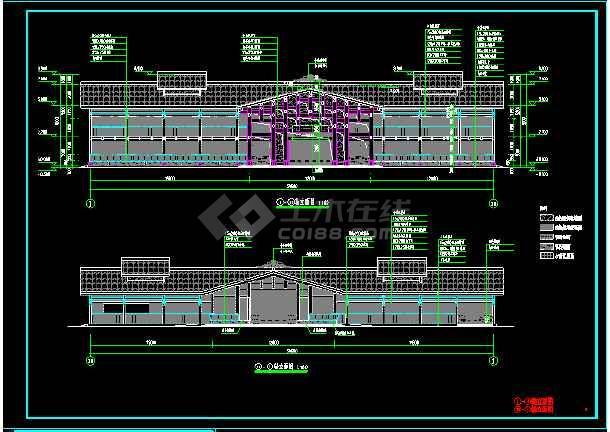 民族风格仿古两层木结构建筑设计图-图1
