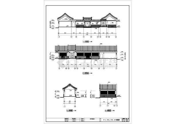 中式仿古四合院建筑设计全套精简图纸(含建筑,结构,水,电,暖设计详图)