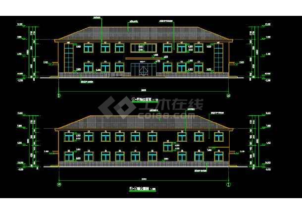某厂区两层坡屋顶办公楼建筑及结构设计图