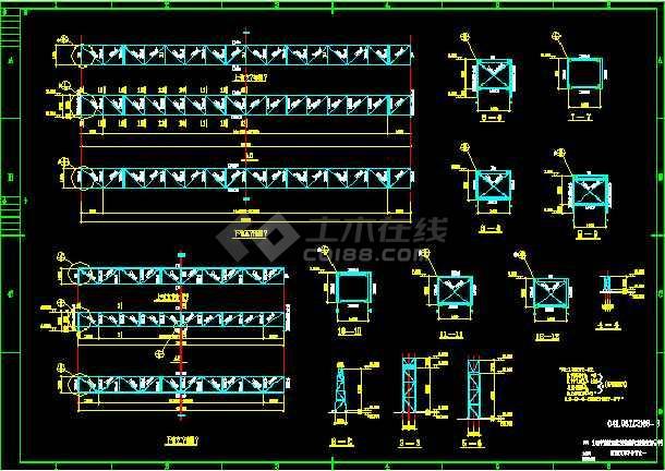 宝钢管道支架钢结构cad设计施工方案图