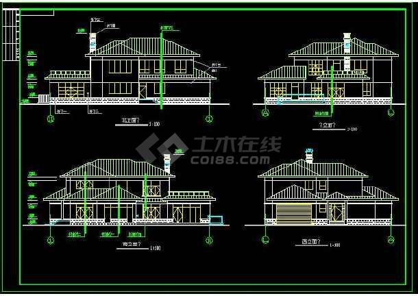 缩小详细的ZJ图纸建筑施工图(共9张)_cad图纸caxa比较别墅图片
