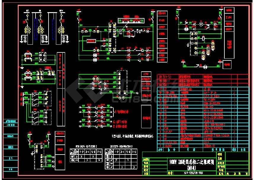 某配电室kyn28中置柜原理接线图cad图