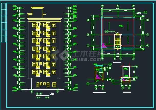 某标准农民房建筑施工cad设计图